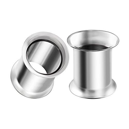 BIG GAUGES Pair 316L Surgical Steel 0g Gauge 8mm Double Flared Piercing Jewelry Stretcher Ear Plug Earring Lobe Tunnel BG0099 ()