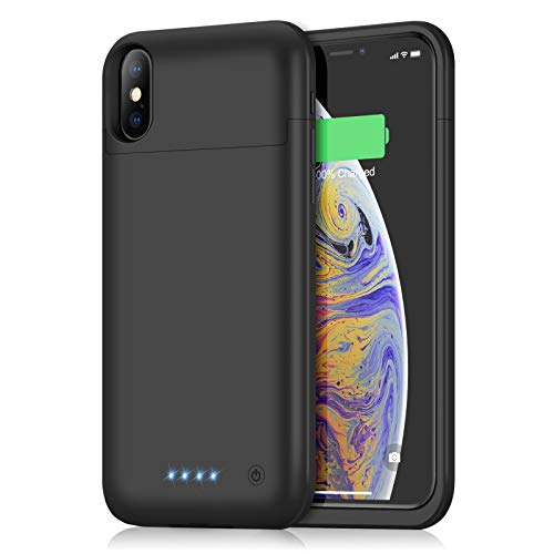 Battery Case for iPhone Xs Max, Yacikos 6200mAh Portable Charging Case Rechargeable Extended Battery Pack for iPhone Xs Max (6.5 inch) Protective Charger Case Backup Power Bank Cover - Black