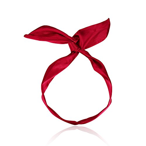 - CHIMERA Wire Bow Headband Flexible Twist Hairbands Solid Color Multi-use Linen Scarf Wrap for Girls (Wine Red)