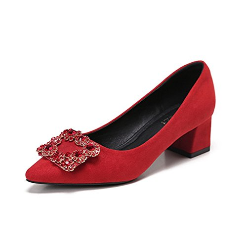 Season Spring Shoes Shallowly Drill Women'S Heels And Shoes And B High HXVU56546 Autumn Water Shallower Red tqwtS