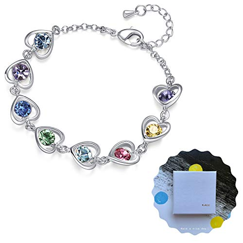 K-Acc Heart Link Bracelet [Gift Packaging] for Girls and Women (Rainbow) (Garnet Swarovski Austrian Crystal)