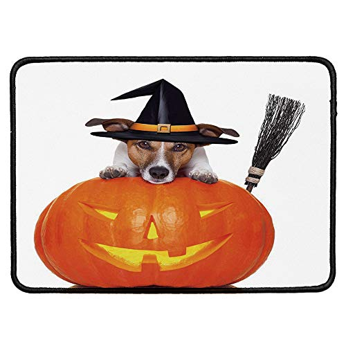 Halloween Office Mouse Pad,Witch Dog with a Broomstick on Large Pumpkin Fun Humorous Hilarious Animal Print for Office Computer Desk,9.84''Wx11.81''Lx0.12''H]()