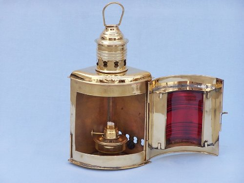 Port and Starboard Oil Lantern (Set of 2) Finish: Solid Brass by Handcrafted Model Ships (Image #2)