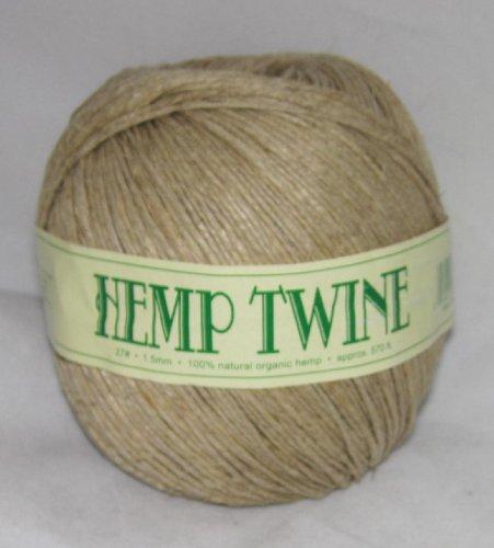 1.5mm 27# Hemp Twine Cording 100% Natural Organic - 27# 1.5mm approx. 570ft -COLOR NATURAL TAN