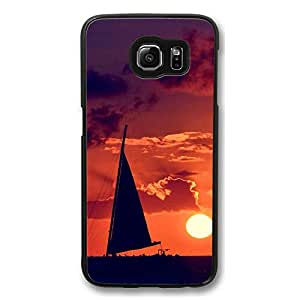 Galaxy S6 Case, S6 Cases, Customize Sunset Orange Sailboat Shock Absorption Bumper Case Protect S6 Hard PC Black Case Cover for Samsung Galaxy S6