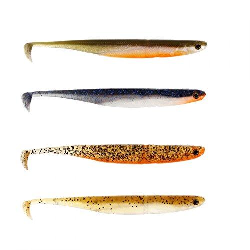 Westin Kick Teez ST 15cm - 4 Gummifische, Gummifisch mit Paddelschwanz für Hecht, Zander, Barsch, Hechtköder, Barschköder, Zanderköder, Angelköder zum Hechtangeln, Zanderangeln, Barschangeln, Farbe:Clear Water Mix