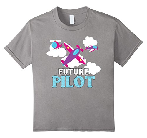 Future Pilot Helicopter - unisex-child Future Pilot - Aspirational T-Shirt for Boys and Girls 12 Slate