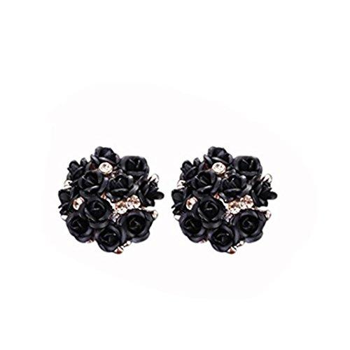 DZT1968 Women Girl Summer Bohemia Flower Anti-allergy Rhinestone Earrings (25g Jewelry)