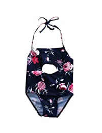 14052fb30ed6c Baby Girl Floral Print Halter Swimsuit Cute Bathing Suit Outfit One Piece  Swimwear