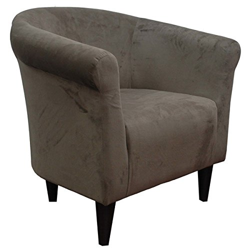 Upholstered Armchair Accent Barrel Back Arm Chair Microfiber Club Seat Decor Living Room Funiture And Decoration (Mocha) Brown Microfiber Club Chair