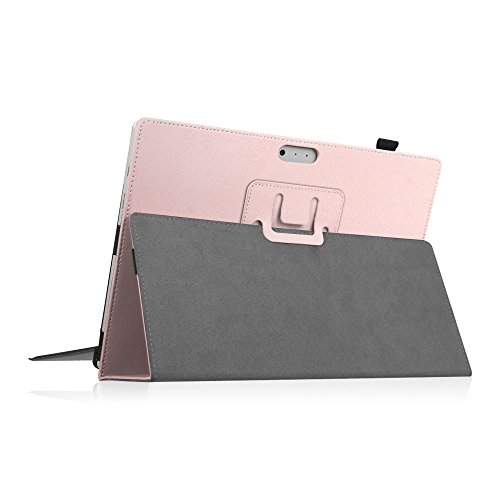 Fintie Case for Surface Pro 7 / Pro 6 - Premium Vegan Leather Slim Fit Folio Cover with Stylus Holder, Compatible with Microsoft Surface Pro 5 / Pro 4 / Pro 3 and Type Cover Keyboard (Rose Gold)
