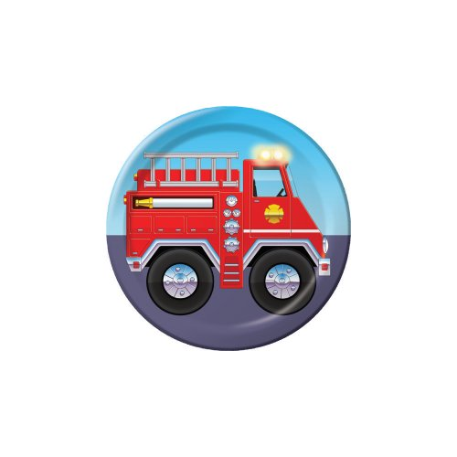Creative Converting Firefighter 8 Count Paper Lunch Plates - Firefighter Luncheon Plate