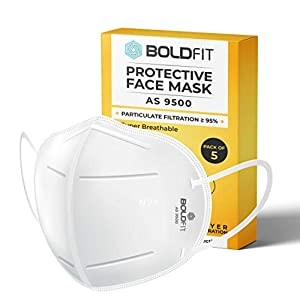 Boldfit N95 mask for face (Pack of 5) Anti Pollution, protective.Third Party Tested by manufacturer at SGS & Ministry of…