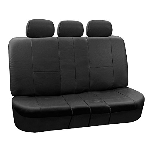 FH Group PU002BLACK013 Black Faux Leather Split Bench Car Seat Cover Works with Split (Split Front Bench Seat)