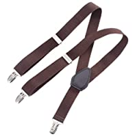 "Clips N Grips Child Baby Toddler Kid Adjustable Elastic Suspenders Y Back Design (26"", Brown)"