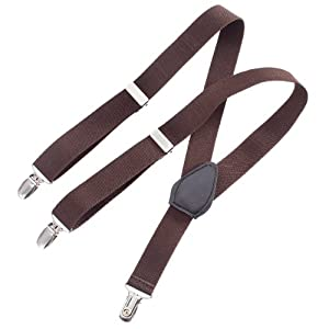 Clips N Grips Child Baby Toddler Kid Adjustable Elastic Suspenders Solid Color Y Back Design,Upto 5' Tall, Brown 30""