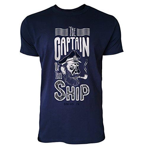SINUS ART ® The Captain Of This Ship Herren T-Shirts in Navy Blau Fun Shirt mit tollen Aufdruck