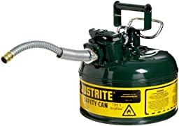 Justrite 7210420 AccuFlow 1 Gallon, Galvanized Steel Type II Green Safety Can With 5/8\