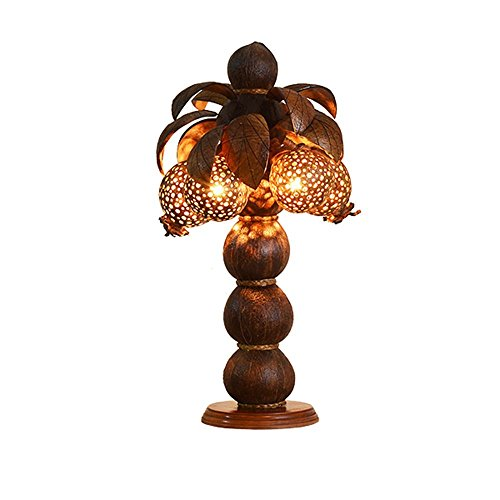 HOMEE Ideal reading light-- wooden coconut shell decoration wood art lamp southeast asia thai spa club hotel bedroom bedside table lamp (style optional) --desk and bedside lighting,A by HOMEE