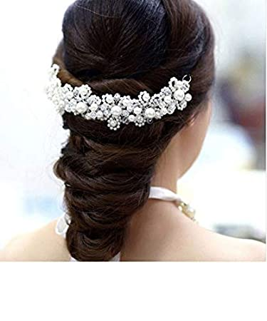 e876a3f53f Amazon.com : 1Pcs Modern Hair Jewelry for Braids Silver- Simulated ...