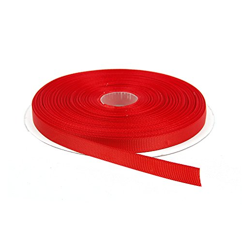 Topenca Supplies 3/8 Inches x 50 Yards Double Face Solid Grosgrain Ribbon Roll, Red