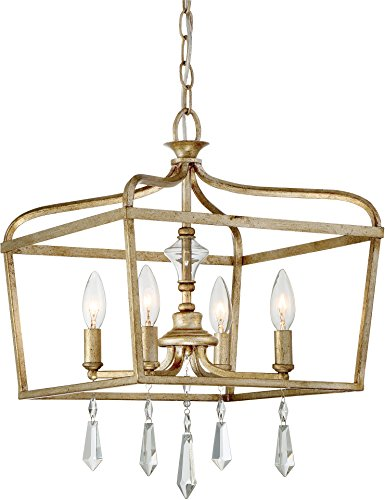 Minka Lavery 4447-582 Laurel Estate Crystal Ceiling Pendant Lantern Chandelier Lighting, 4-Light Fixture 240 Watts, Brio Gold