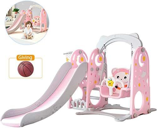 TINTON LIFE 3 in 1 Slide and Swing Set Combination of Swing Slide Basketball Hoop Indoor Backyard Slide Playground Pink