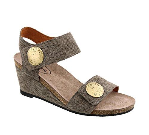 Embossed Wedge Sandals - Taos Footwear Women's Carousel 2 Taupe Embossed Suede Sandal 7-7.5 M US