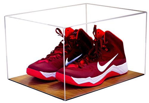 Deluxe Acrylic Clear Basketball Shoe Display Case with UV Protection with Wood Floor (A025) (Football Cleat Display Case)