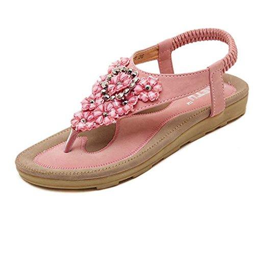 Start Dames Zomer Kralen Bloem Flats Visgraat Sandalen Strandschoenen Roze