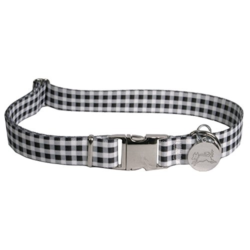 Yellow Dog Design Southern Dawg Gingham Black Dog Collar with Tag-A-Long ID Tag System-Large-1