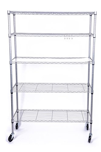 J.S. Hanger 5-Tier Heavy Duty Storage Shelf Adjustable Wire Shelving Rack, Thicken Tube and Industrial Wheels, Silver by J.S. Hanger