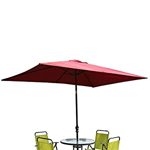 ADA Kosycosy 6.6X10 ft Rectangular Patio Umbrella Outdoor Market Umbrella, with Tilt Adjustment and Crank Lift System, Perfect for Outdoors, Patio, or any Parties (Wine Red)