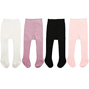 Zando Soft Baby Tights Seamless Cable Knit Infant Tights for Baby Girls Leggings Stockings Newborn Pantyhose Winter Clothes Toddler Warm Socks 4 Pack - Colorful Mixed A 2-4 Year