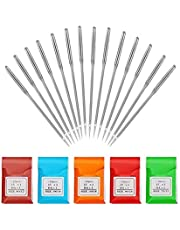 SUMAJU 50Pcs Sewing Machine Needles, Universal Regular Point for Singer Brother with Sizes 11/75 12/80 14/90 16/100 18/110