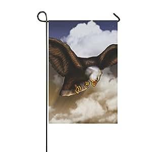 InterestPrint Happy More Custom Flying Eagle - Bandera decorativa de jardín doble, 12x18 inch
