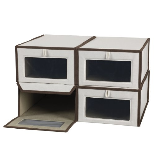 (Household Essentials Set of Four Large Shoe Storage Boxes, Natural Canvas with Brown Trim)