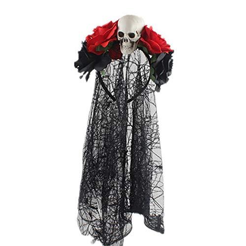 Coxeer Halloween Headband Party Headband Faux Flower Decor Novelty Hair Hoop Party Headband with Veil
