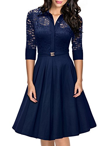 blue a line dress with sleeves - 5