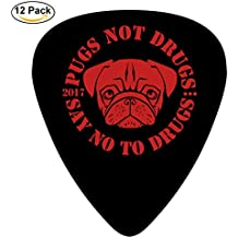 STREMUSIC Pug Not Drugs Celluloid Electric Guitar Picks 12-pack Plectrums For Bass Music Tool
