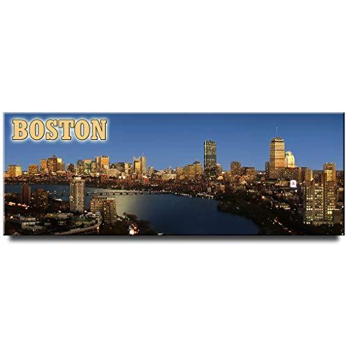 Boston Night panoramic fridge magnet Massachusetts travel ()
