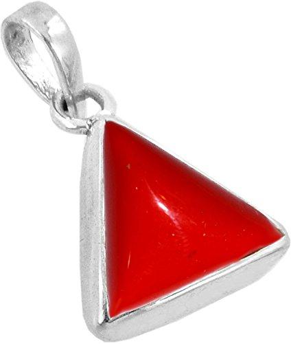 Red Coral Gemstone Pendant (Divya Shakti 11.25 - 11.50 Carats Triangle Red Coral Pendant / Locket ( Moonga /Munga Stone Silver Pendant ) 100% Original AAA Quality Gemstone)