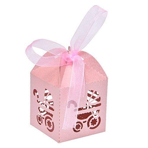Baby Shower Girl Favor Box Laser Cut Carriage Bomboniere Gift Candy Boxes Pink (50pcs)