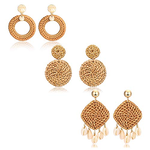 - Rattan Earrings Boho Straw Wicker Woven Handmade Earrings Lightweight Geometric Drop Dangle Earrings Rattan Shell Earrings for Women Girls