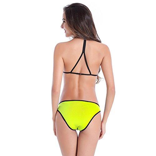 Bikini para las mujeres,Nuevo estilo de bikini colorido para la fiesta de la piscina amarillo