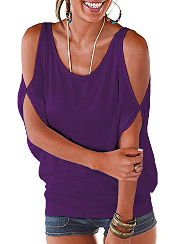 LEIYEE Womens Cold Shoulder Tops Short Sleeve T Shirt Pullover Casual Dolman Blouses (XL, Deep Purple)