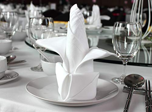 Atlas 24-Pack Napkins - White, Professional Grade, 100% Cotton With Momie Weave, Exceptional Absorption. Dinner Napkins Preferred by Professional Chefs 21x21