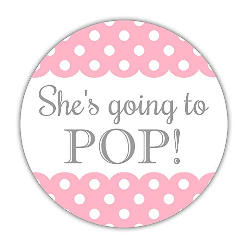 40 Ready to pop Stickers, 2 inches - About to pop Labels - Baby Shower Popcorn Favors (Pink)