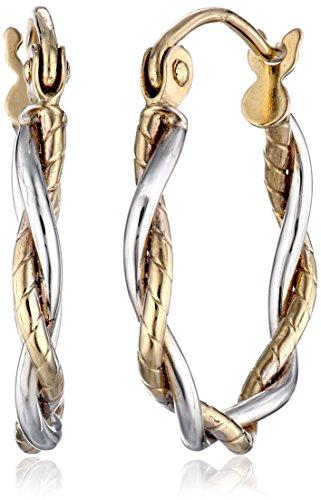14k Gold Two-Tone 1.8mm Twisted Hoop Earrings