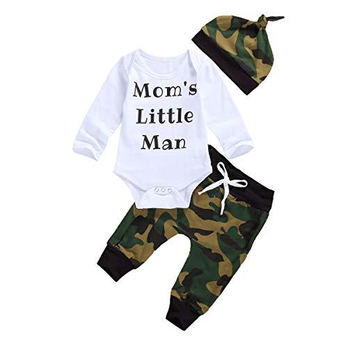 Pasgeboren Baby Jongens Camouflage KledingMama's Little Man Letter T-Shirt Romper+Broek+Hoed 3 STKS Outfits Set